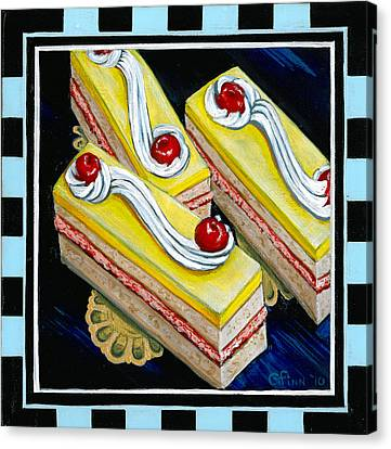 Canvas Print featuring the painting Lemon Bars With A Cherry On Top by Gail Finn