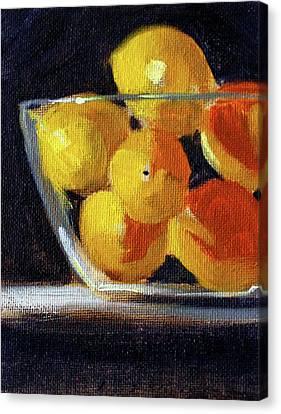 Canvas Print featuring the painting Lemon Bowl by Nancy Merkle