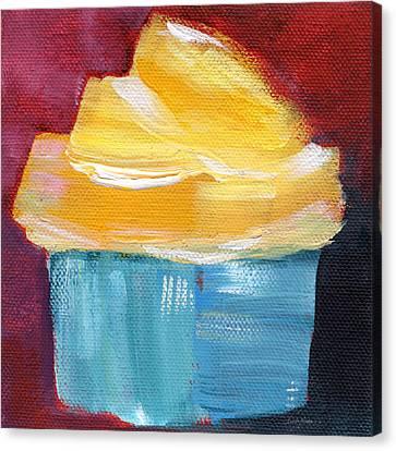 Lemon Cupcake- Art By Linda Woods Canvas Print by Linda Woods