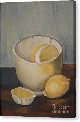 Lemon In A Bowl Canvas Print by Vesna Antic