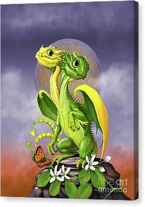 Canvas Print featuring the digital art Lemon Lime Dragon by Stanley Morrison