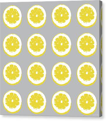 Kitchen Wall Canvas Print - Lemon Slices On Grey- Art By Linda Woods by Linda Woods