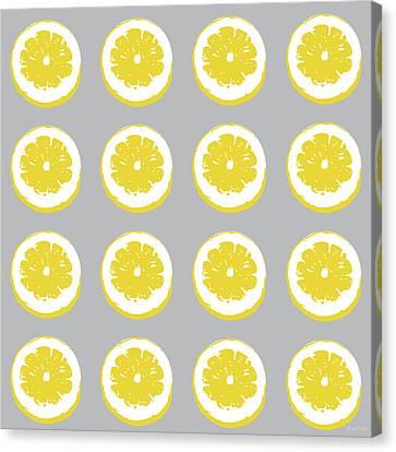 Lemon Slices On Grey- Art By Linda Woods Canvas Print by Linda Woods