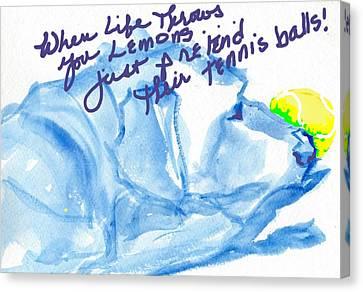 Lemons And Tennis Balls Canvas Print by Sheila Wedegis