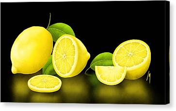 Lemons-black Canvas Print by Veronica Minozzi