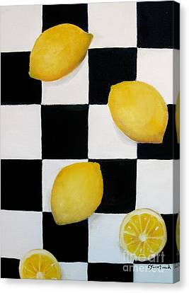 Canvas Print featuring the painting Lemons by Carol Sweetwood