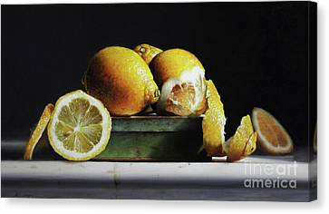 Lemons On A Tin Canvas Print