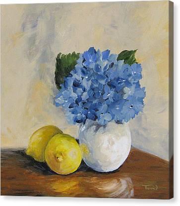 Lemons With Hydrangea Canvas Print