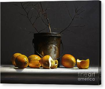 Lemons With Red Twig Dogwood Canvas Print