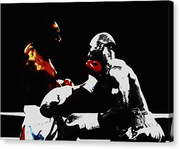 Lennox Lewis And Holyfield 3f Canvas Print