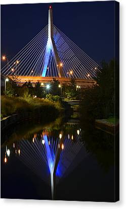 Lenny Zakim Bridge Reflection Boston Ma Canvas Print by Toby McGuire
