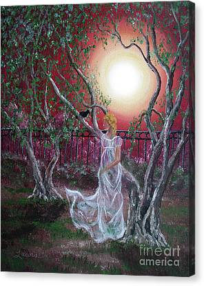 Lenore By An Olive Tree Canvas Print