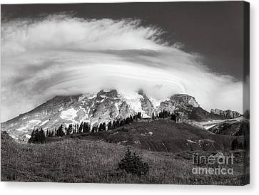 Lenticular Cloud Over Mt Rainier Canvas Print