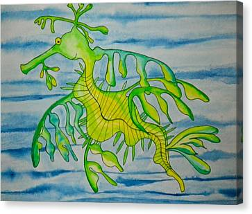 Leon The Leafy Dragonfish Canvas Print by Erika Swartzkopf
