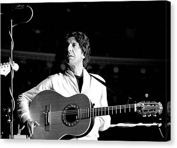 Canvas Print featuring the photograph Leonard Cohen 1976 Royal Albert Hall by Chris Walter