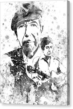 Leonard Cohen Black-white Canvas Print