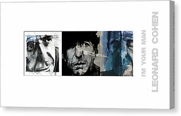 Songwriter Canvas Print - Leonard Cohen Triptych by Paul Lovering
