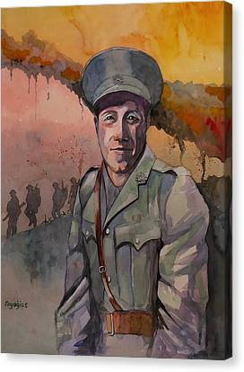Canvas Print featuring the painting Leonard Keysor Vc by Ray Agius