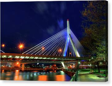 Canvas Print featuring the photograph Leonard P Zakim Bridge At Night - Boston Cityscape by Joann Vitali