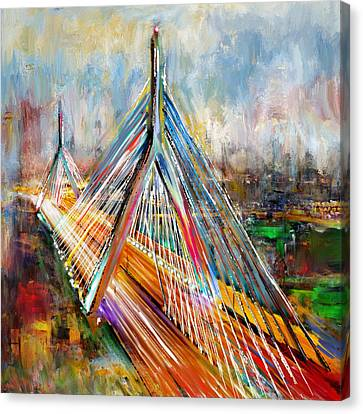 Leonard P. Zakim Bunker Hill Memorial Bridge 219 1 Canvas Print by Mawra Tahreem