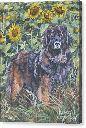 Leonberger In Sunflowers Canvas Print by Lee Ann Shepard