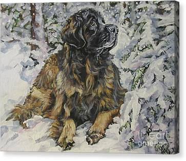 Leonberger In The Snow Canvas Print