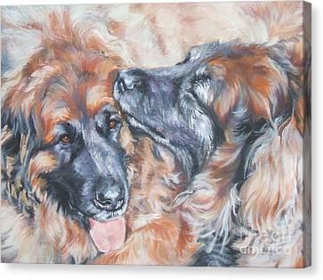 Leonberger Pair Canvas Print by Lee Ann Shepard