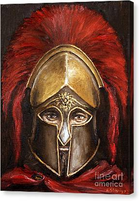 Canvas Print featuring the painting Leonidas by Arturas Slapsys
