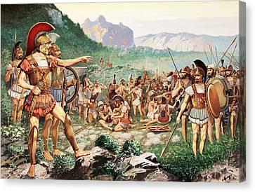 Leonidas Bids Farewell To Allies Canvas Print by H.M. Herget