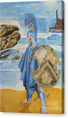 Canvas Print featuring the painting Leonidas King Of The Spartans   by Eric Kempson