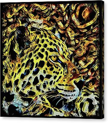 Canvas Print featuring the painting Leopard Abstract  by David Mckinney