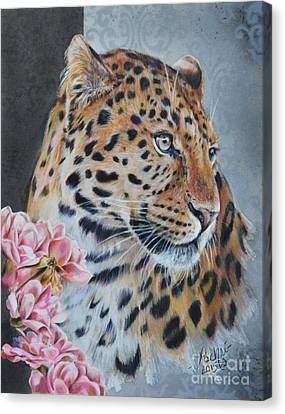 Leopard And Roses Canvas Print