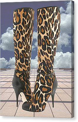 Leopard Boots With Ankle Straps Canvas Print by Elaine Plesser