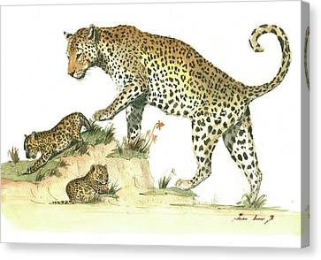 Leopard Family Canvas Print by Juan Bosco