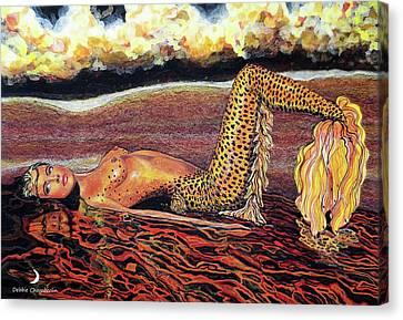 Leopard Mermaid Canvas Print by Debbie Chamberlin