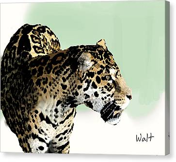 Canvas Print featuring the digital art Leopard by Walter Chamberlain