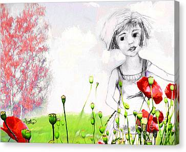 Canvas Print featuring the drawing Leora In Her Garden by Ginette Callaway