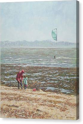 Canvas Print - Lepe Beach Windy Winter Day by Martin Davey