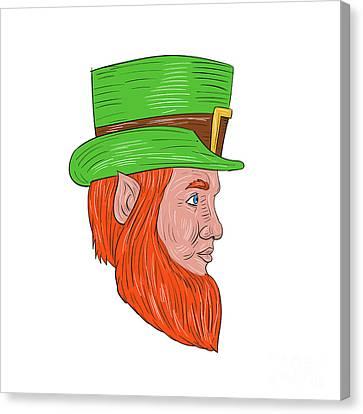 Leprechaun Head Side Drawing Canvas Print by Aloysius Patrimonio