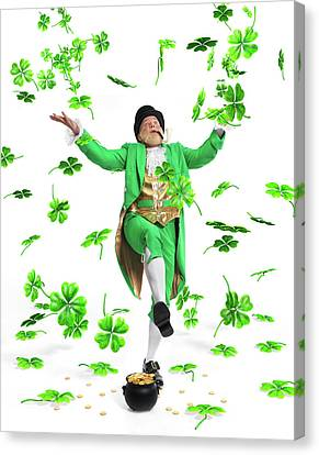 Leprechaun Tossing Shamrock Leaves Up In The Air Canvas Print by Oleksiy Maksymenko