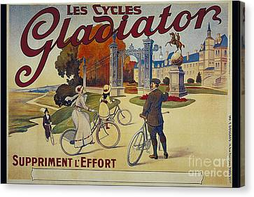 Les Cycles Gladiator Suppriment L Effort Vintage Cycling Poster Canvas Print by R Muirhead Art