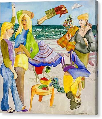Les Demoiselles Of Santa Cruz V4 Canvas Print by Susan Cafarelli Burke