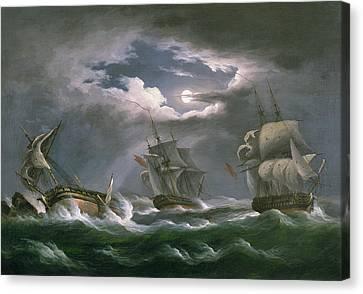 Pirate Ships Canvas Print - Les Droits De L'homme by Thomas Luny