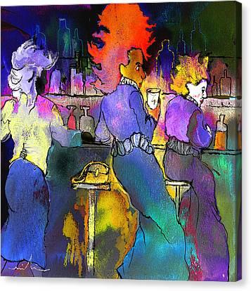 Les Filles Du Cafe De La Nuit Canvas Print by Miki De Goodaboom