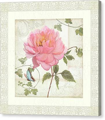 Les Fleurs Magnifiques II - Pink Peony W Vines N Butterfly  Canvas Print by Audrey Jeanne Roberts
