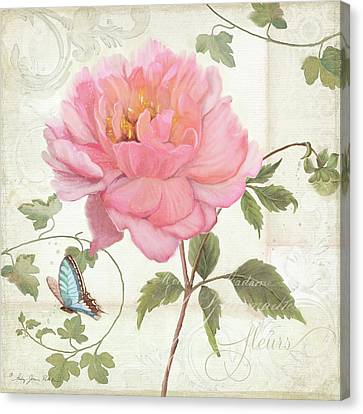 Les Magnifiques Fleurs Iv - Magnificent Garden Flowers Pink Peony N Blue Butterfly Canvas Print by Audrey Jeanne Roberts