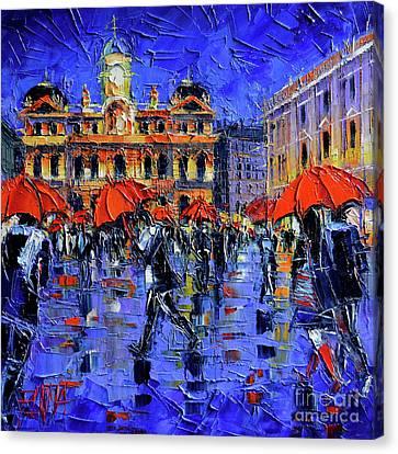 Rainy Night Canvas Print - Les Parapluies De Lyon Modern Impressionist Palette Knife Oil Painting by Mona Edulesco