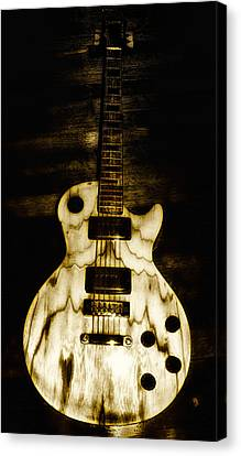 Blonde Canvas Print - Les Paul Guitar by Bill Cannon