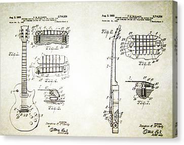 1955 Canvas Print - Les Paul Guitar Patent 1955 by Bill Cannon