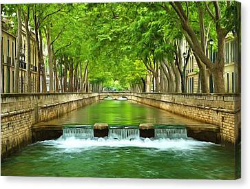 Les Quais De La Fontaine Nimes Canvas Print by Scott Carruthers